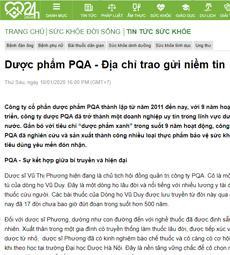 Dược phẩm PQA - Địa chỉ trao gửi niềm tin