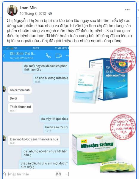 chia sẻ của khách hàng dùng nhuận tràng pqa đã khỏi bệnh táo bón