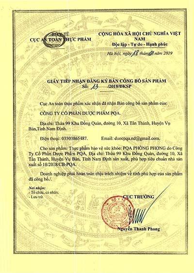 giấy chứng nhận của bộ y tế sản phẩm đau thần kinh tọa