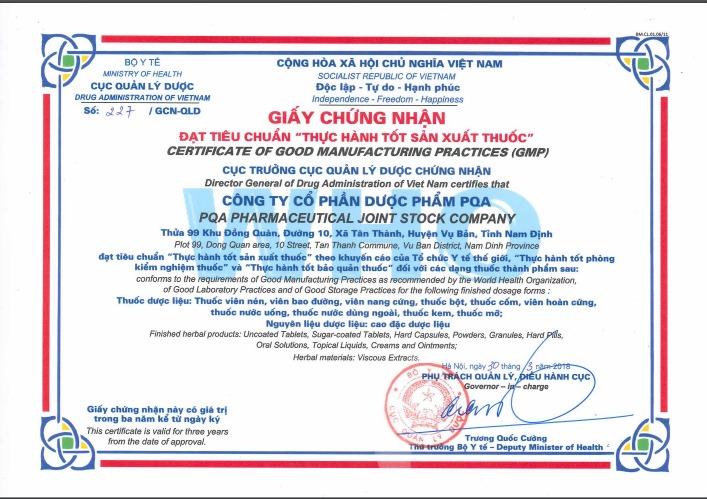 giấy chứng nhận nhà máy sản xuất thuốc tốt