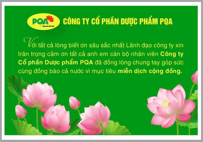 Dược phẩm pqa chung tay ủng hộ quỹ vacxin covid 19