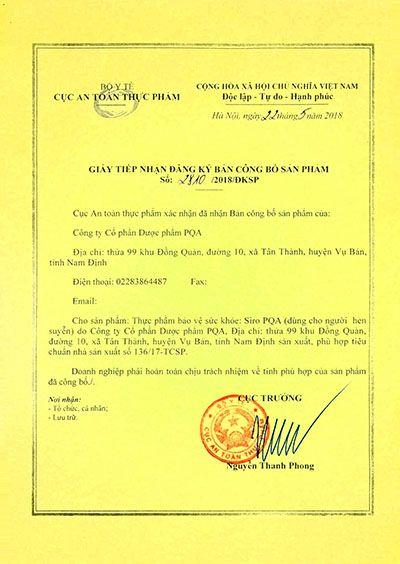Siro PQA Hen Suyễn